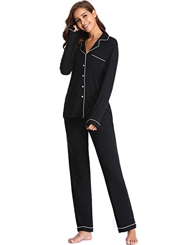 (Lusofie Pajama Set for Women Long Sleeve Soft Sleepwear with Pocket (Black,L))