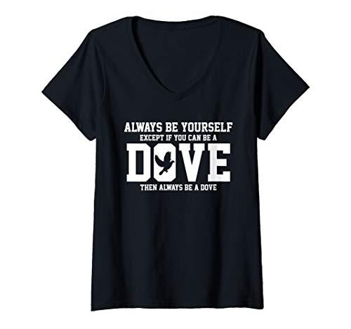 Womens Dove Pigeon Bird Lover Birdwatching Gift V-Neck T-Shirt