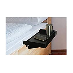 Bedside Shelf for Bed - College Dorm Room Bedside Tray with Cup Holder & Cord Holder - Nightstand for Students - Bunk Bed Shelf for Top Bunk - Kids Nightstand for Bedroom (Plastic, Black)
