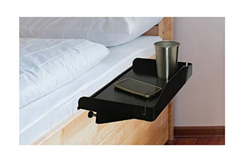 Bedside Shelf for Bed - College Dorm Room Bedside Tray with Cup Holder & Cord Holder - Nightstand for Students - Bunk Bed Shelf for Top Bunk - Kids Nightstand for Bedroom (Plastic, Black) ()