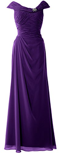 MACloth Women Cap Sleeves Boat Neck Formal Gown Long Mother of the Bride Dress Morado