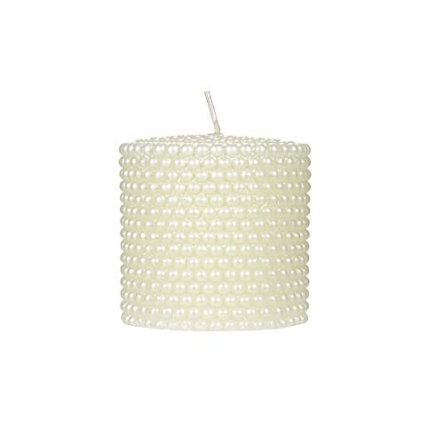 Mega Candles Unscented Ivory Round Pearl Pillar Candle | Hand Poured Premium Wax Candles 3