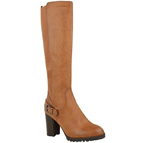 Mujer Pernera Ancha hasta la rodilla media caña tacón en Bloque Botas De Montar Elástico Zapatos Marrón Tostado Piel Sintética