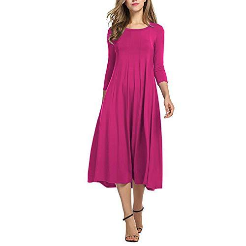 Et Quotidienne Robes Vacances Slim DEELIN Dress Style Casual Grosses Femmes Manches Couleur Long Chaud Dames Unie 4 Simple Fit Casual Rose 3 Soldes aqqSZwv