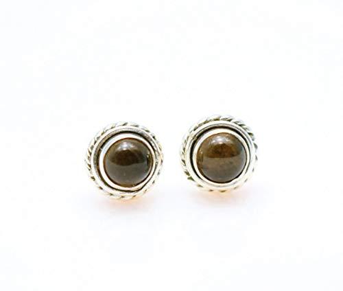 (Smokey Quartz Gemstone Earrings Circle Shaped Handcrafted, Semi Precious Stone by Handmade Studio)