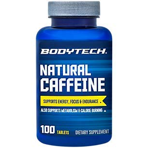 Natural Caffeine Supports Energy, Focus Endurance 200 MG (100 Tablets)