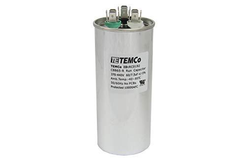 TEMCo Dual Run Capacitor RC0192-60/7.5 mfd 370 V 440 V VAC Volt 60+7.5 uf AC Electric Motor HVAC