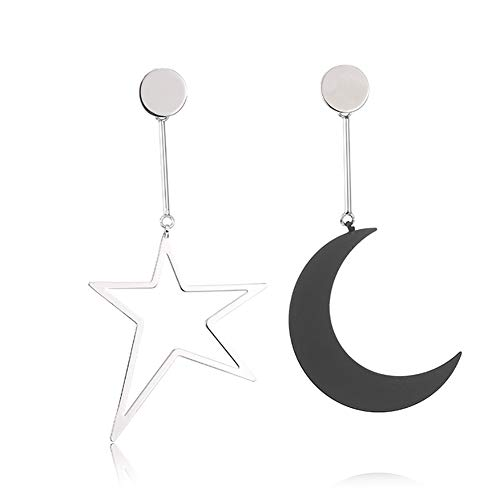 MUZHE Sapphire Blue Earth and Moon Planet Earring (O:Black white star moon)