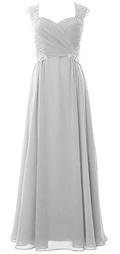 Elegant Weiß Abendkleider Festkleider Partykleider Hochzeit Beyonddress Spitze Brautjungfernkleider Schatzhals MaxiKleid Lang Damen Chiffon 7wIq1