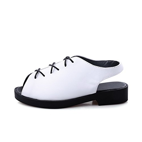 Allhqfashion Mujer's Open Toe Low-heels Material Suave Solid Sandalias Con Cordones Blanco