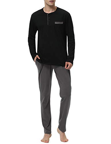 Abollria Henley Top Polar Cotton Pants Men's 2 Piece Pajama Set,Black,S