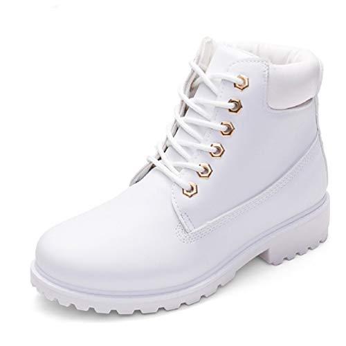 Botas De Mujer Botas De Invierno De OtoñO Rojo Botas De Nieve De Tobillo De Felpa con Cordones De Zapatos Botas Altas Impermeables De Nieve Blanco