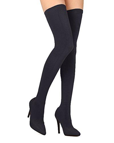 Alrisco Femme Stretch Tissu Cuisse Haut Pointu Bas Stiletto Boot - Hf49 Par Cape Robbin Collection Noir
