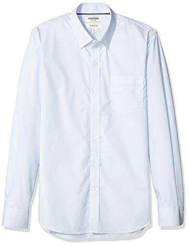 Goodthreads Men's Slim-Fit Long-Sleeve Stretch Poplin (All Hours), Light Blue Mini Stripe, X-Large