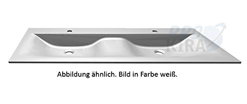 Puris Brillant Glas Doppelwaschtisch / WGS952D83 / Quarzitgrau / 120,6x1,1x50cm