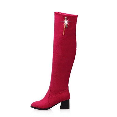 WeenFashion Women&39s Flock Kitten-Heels Pointed-Toe Boots with