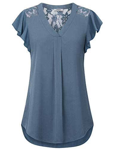 Youtalia Womens Blouses for Work, Ladies Summer Tops Chiffon V Neck Blouse Ruffle Sleeve Lace Patchwork Shirts Casual Tunic Tops for Legging Blue Grey Large ()