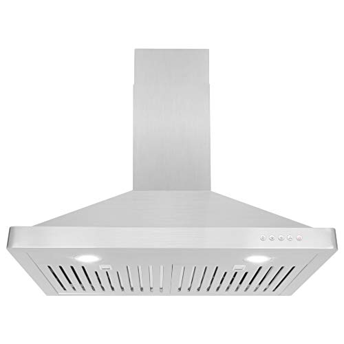 Cosmo 63175 30-in Wall-Mount Range Hood 760-CFM Ductless Convertible Duct Kitchen Chimney-Style Over Stove Vent LED Light, 3 Speed Exhaust Fan, Permanent Filter, (Stainless Steel) (Fan Range Hood)