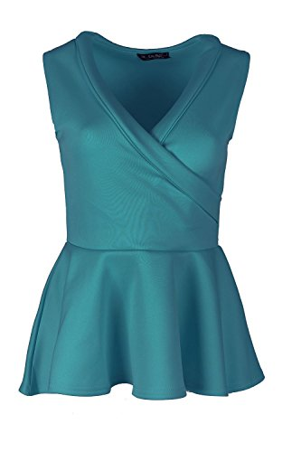 Womens Ladies Tuxedo Collar Wrap Over Flared Stretch Peplum Frill Mini Dress Top