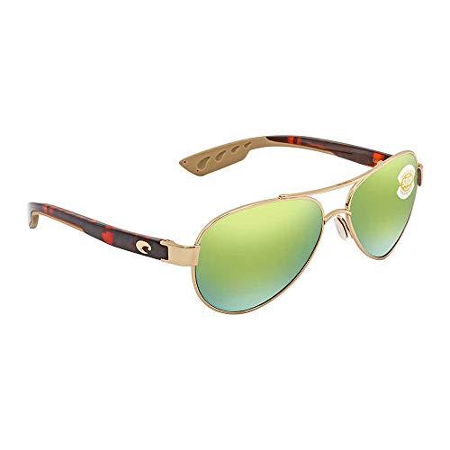 Costa del Mar Loreto Polarized Iridium Aviator Sunglasses, Rose Gold, 56.5 mm (Costa Aviators)
