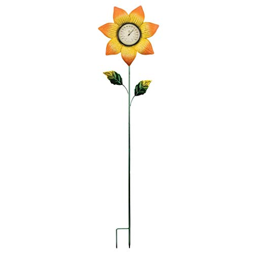 Regal Arts & Gift Thermometer Stake 11.75''X1.5''X35.75'' Metal/Glass - Orange Flower by Regal Arts & Gift