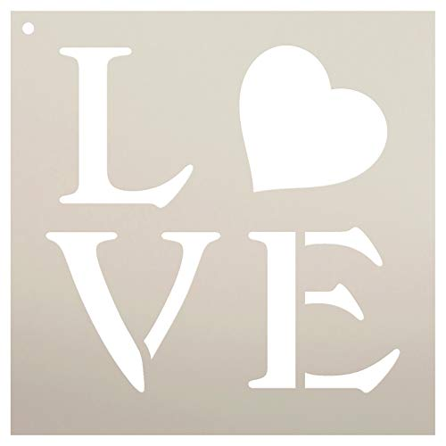 Love Square with Heart Stencil by StudioR12   Reusable Mylar Template   Use to Paint Wood Signs - Pallets - Pillows - DIY Love Decor - Select Size (12