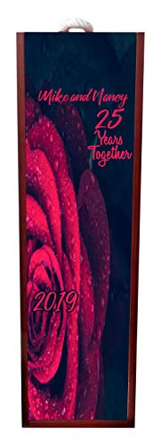Jacks Outlet 25 Years Together - Anniversary Red Roses Wine Box Personalized - Wine Box Rosewood with Slide Top - Wine Box Holder - Wine Case Decoration - Wine Case Wood - Wine Box Carrier ()