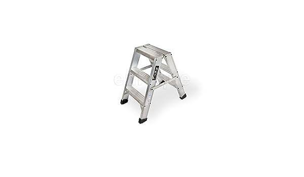 Taburete-escalera industrial de aluminio doble acceso 2 x 3 peldaños serie stool new comfort: Amazon.es: Hogar