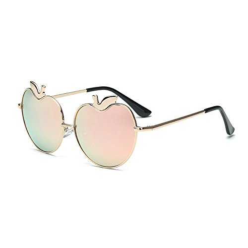 MINCL/Womens Apple Heart Shaped Sunglasses Cute Love Fashion Eyewear (gold-pink, - Sunglasses Oval Face Male Shaped For