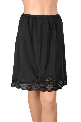 "Gemsli Elegance, Nylon Half Slip with Novelty Lace, Cling Free, 2X (22"" Length) Black"