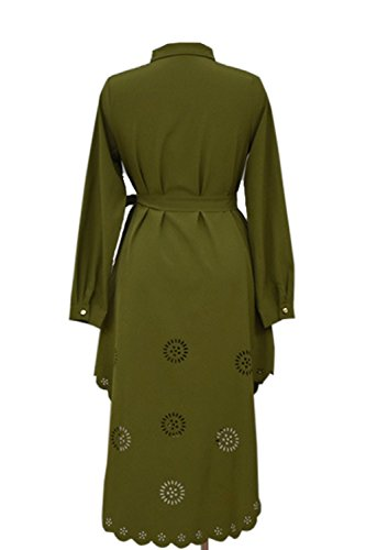 Túnica Mujer Femenina Manga Larga Camisa Más Talla Botón Verde Casual Blusa Musulmana Collar Vestimenta rxPCqw6nr