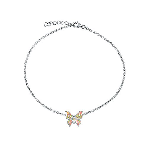 - Pink Butterfly Created Opal Charm Anklet Ankle Bracelet For Women 925 Sterling Silver Adjustable October Birthstone