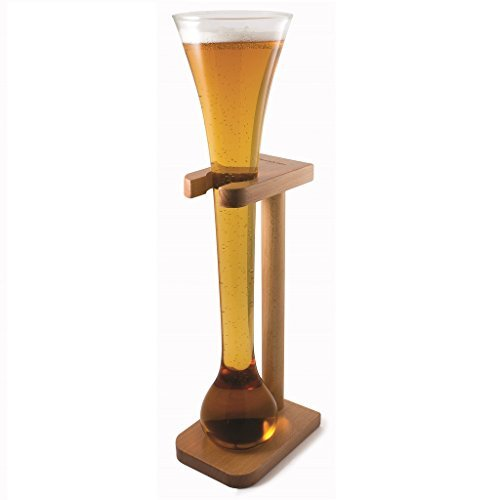 CKB Ltd Half Yard Tall Ale Glass With Smart Birch Wood Stand Holder - You Can Fill This Tall Sleek Glass To (Yard Beer)
