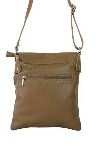 Schultertasche Umhängetasche Henkeltasche Damentasche taupe Leder