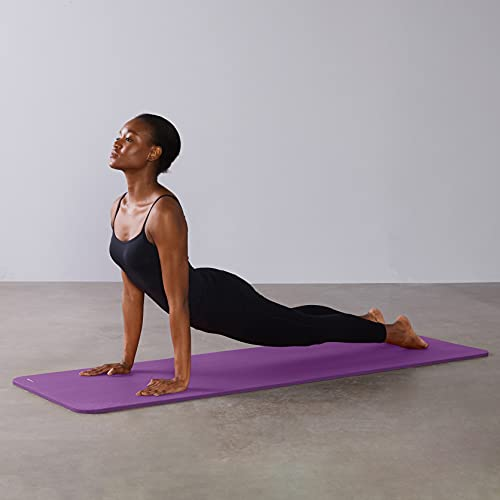 Amazon Basics Extra Thick Exercise Yoga Gym Floor Mat with Carrying Strap - 74 x 24 x .5 Inches, Purple