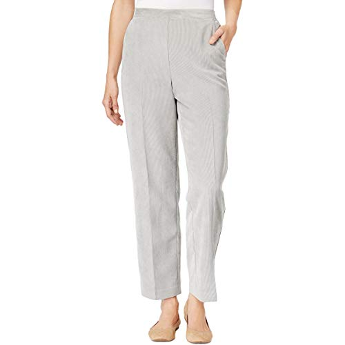 Alfred Dunner Womens Plus Traditional Fit Comfort Waist Corduroy Pants Gray 20W -