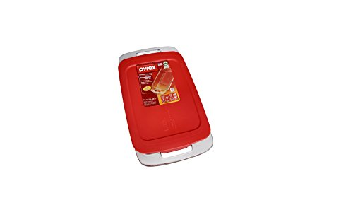4.8 Quart Oblong Baking Dish with Red Plastic Lid, Pack Of 2