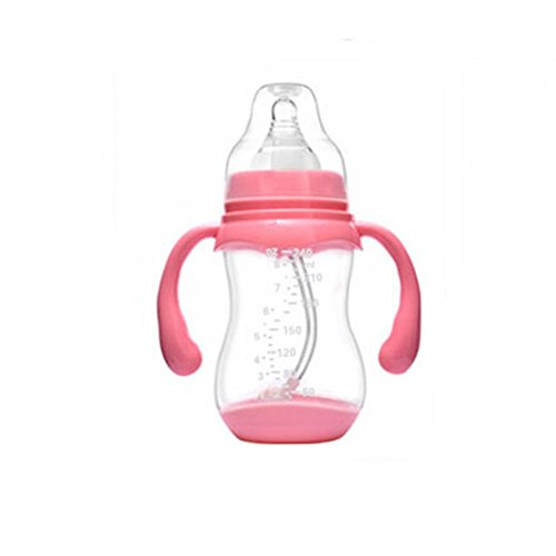 Wide Neck Non Drip Nipples (340ml and 240ml Silicone Baby Bottle with Handles Anti Colic Feeding Bottle Cup (240ML, Pink))