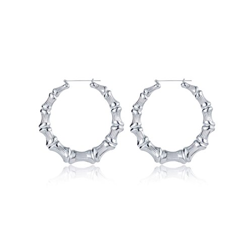 White Bamboo Hoop Earring Hollow Casting Hip-Hop Statement Jewelry for Women Dia 65mm