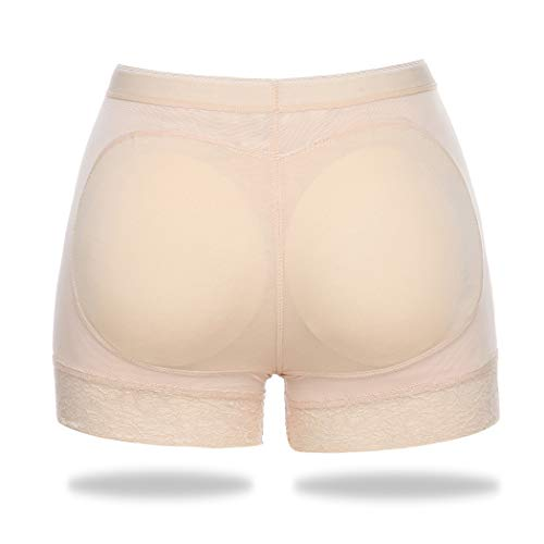 Butt Lifter Padded Panties for Women Hip Enhancer Shapewear Seamless Lace Boyshorts (Nude, XL)