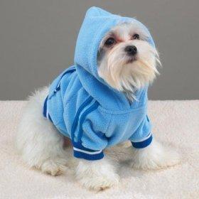 BLUE - LARGE - Sporty Fleece Pullover - DOGGY SPORTS SWEATSHIRT