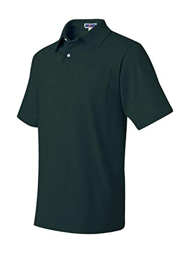 Jerzees mens 5.6 oz. 50/50 Jersey Pocket Polo with SpotShield(436P)-FOREST GREEN-S