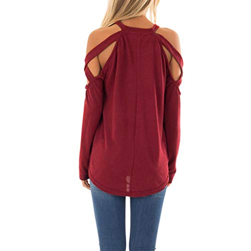 (Casual Tops for Women, Fzitimx Fashion Women O-Neck Pure Color Long Sleeve Strapless Top Easy Blouse Women Tops(Wine S))
