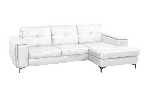 Frankfurt Leather Sectional Sofa in Pure White