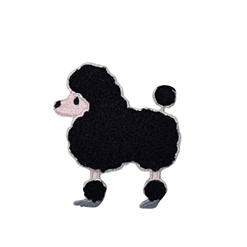Black Chenille Poodle Facing Left Iron on Embroidered Patch -