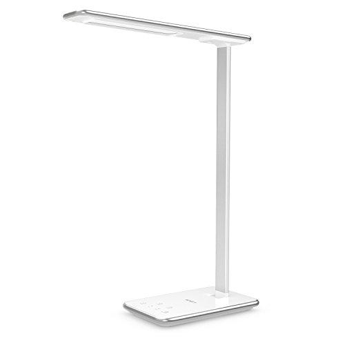 AUKEY 10W dimmbar Schreibtischlampe LED Schreibtischleuchte, Aluminium Arm, mit Mini Nachtlicht und USB Anschluss zum Aufladen, Augenschutz, 5 Helligkeitsstufen, 3 Modi, 60 Minuten Timer (LT-T7 Weiß)