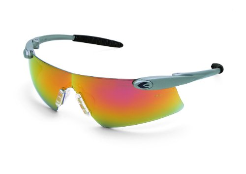 MCR Safety DS14R Desperado Clear Nose Gel Pads Safety Glasses with Silver Frame and Red Mirror Lens