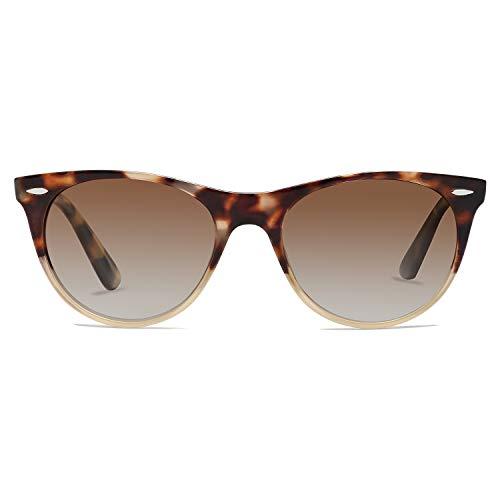 SOJOS Classic Retro Polarized Sunglasses Small Vintage UV400 Glasses CELEB SJ2076 with Brown Tortoise Frame/Gradient Brown Lens