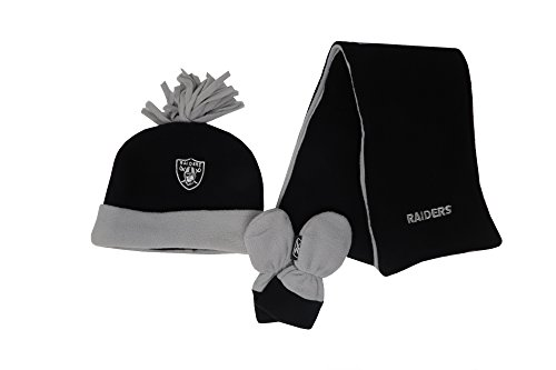 Reebok Infant/Kid's NFL Oakland Raiders Football Black Beanie, Mittens, Scarf (One Size - Hat Reebok Football