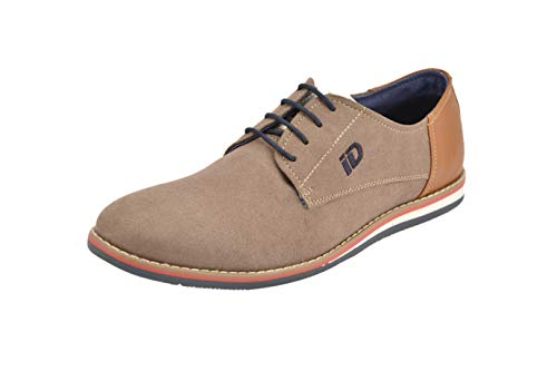 ID Men's Casual Lace-up Man Made Suede Oxfords Dress Shoes- Beige